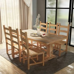 stradeXL Zestaw mebli do jadalni 7 elementów, stół i krzesła, drewno tekowe