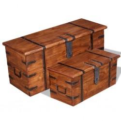 stradeXL Drewniane skrzynie, 2 szt., lite drewno