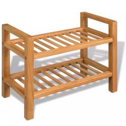 stradeXL Shoe Rack with 2 Shelves 49.5x27x40 cm Solid Oak Wood
