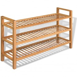 stradeXL Shoe Rack with 3 Shelves 100x27x59.5 cm Solid Oak Wood