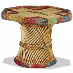 stradeXL Stolik kawowy z detalami w stylu chindi, bambus, wielokolorowy