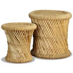 stradeXL Stołki, 2 szt., bambus i juta