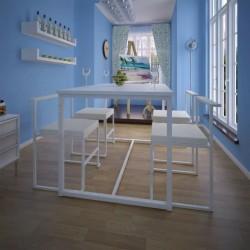 stradeXL 5-elementowy zestaw do jadalni: stół i krzesła, biały
