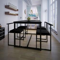 stradeXL 5-elementowy zestaw mebli do jadalni: stół i krzesła, czarny