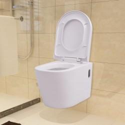 stradeXL Podwieszana toaleta ceramiczna, biała