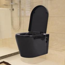 stradeXL Podwieszana toaleta ceramiczna, czarna