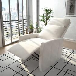 stradeXL Rozkładany fotel telewizyjny, biały, sztuczna skóra