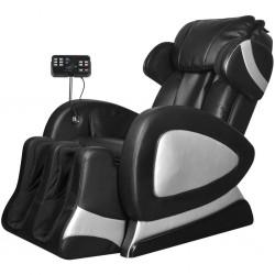 stradeXL Fotel do masażu z ekranem, czarny, sztuczna skóra