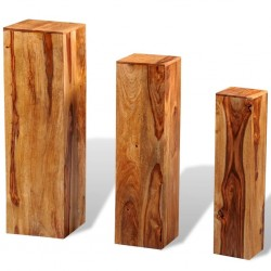 stradeXL 3 Piece Plant Stands Solid Sheesham Wood Brown