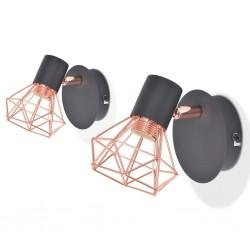 stradeXL Wall Lamp 2 pcs E14 Black and Copper