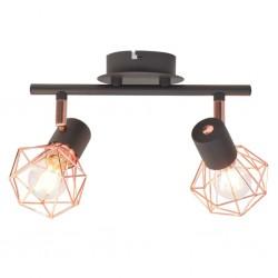 stradeXL Lampa sufitowa z 2 żarówkami E14, czarno-miedziana