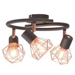 stradeXL Lampa sufitowa z 3 żarówkami E14, czarno-miedziana