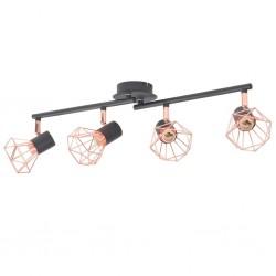 stradeXL Lampa sufitowa z 4 żarówkami E14, czarno-miedziana