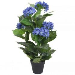 stradeXL Sztuczna hortensja z doniczką, 60 cm, niebieska