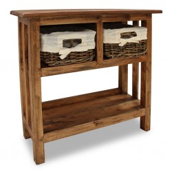 stradeXL Stolik konsola, lite drewno z odzysku, 69 x 28 x 70 cm