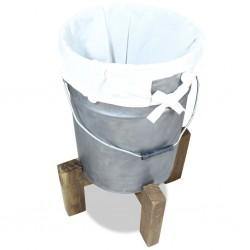 stradeXL Kosz na pranie, ocynkowane żelazo, lite drewno, 30x 30x58 cm