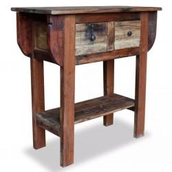 stradeXL Stolik konsola, lite drewno z odzysku, 80 x 35 x 80 cm