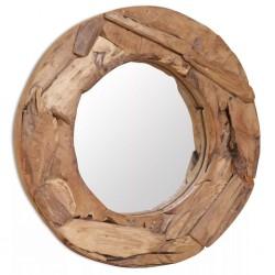stradeXL Lustro dekoracyjne, drewno tekowe, 60 cm, okrągłe