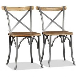 stradeXL Krzesła stołowe, 2 szt., lite drewno mango