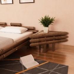 stradeXL Stoliki nocne, 2 szt., 60x60x40 cm, bambusowe, ciemnobrązowe