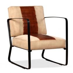 stradeXL Fotel, brązowy, skóra naturalna i płótno
