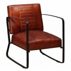 stradeXL Fotel, brązowy, skóra naturalna