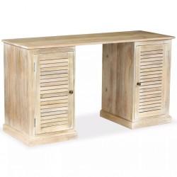 stradeXL Biurko z dwoma szafkami, lite drewno mango, 140x50x77 cm