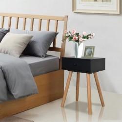 stradeXL Szafki nocne, 2 szt., drewno sosnowe, 40 x 30 x 61 cm, czarne
