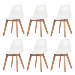 stradeXL Krzesła stołowe, 6 szt., białe, plastik