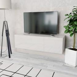stradeXL Biała szafka pod TV, 120x40x34 cm, płyta wiórowa, wysoki połysk