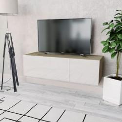 stradeXL Szafka pod TV, 120x40x34cm, kolor dębowy i biały, wysoki połysk