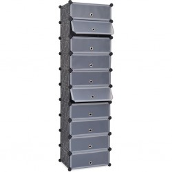 stradeXL Interlocking Shoe Organiser with 10 Compartments Black