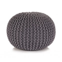 stradeXL Puf z ręcznie dzierganym pokryciem z bawełny, 50x35 cm, szary