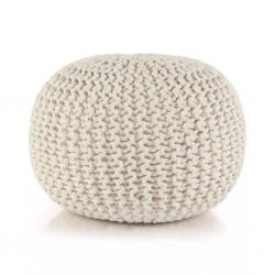 stradeXL Puf z ręcznie dzierganym pokryciem z bawełny, 50x35 cm, biały
