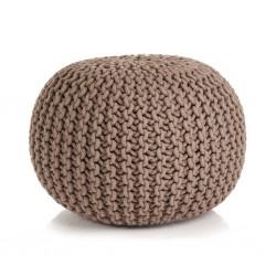 stradeXL Puf z ręcznie dzierganym pokryciem z bawełny, 50x35 cm, brązowy