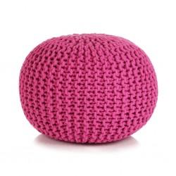 stradeXL Puf z ręcznie dzierganym pokryciem z bawełny, 50x35 cm, różowy