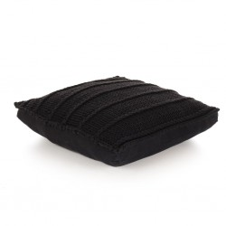 stradeXL Floor Cushion Square Knitted Cotton 60x60 cm Black
