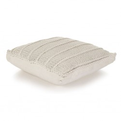 stradeXL Floor Cushion Square Knitted Cotton 60x60 cm White
