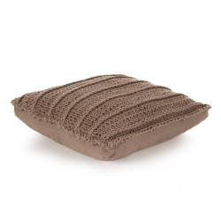 stradeXL Floor Cushion Square Knitted Cotton 60x60 cm Brown