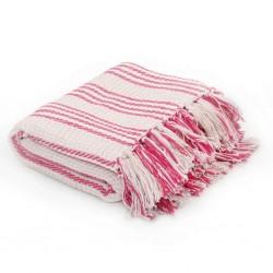 stradeXL Throw Cotton Stripes 160x210 cm Pink and White