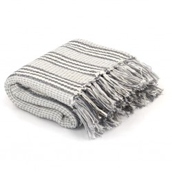 stradeXL Throw Cotton Stripes 160x210 cm Grey and White