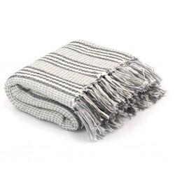 stradeXL Throw Cotton Stripes 220x250 cm Grey and White