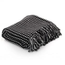 stradeXL Throw Cotton Squares 220x250 cm Black