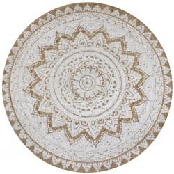 stradeXL Dywan pleciony z juty z nadrukiem, 90 cm, okrągły