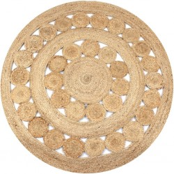 stradeXL Dywan pleciony z juty, 150 cm, okrągły