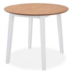 stradeXL Stół jadalniany ze składanym blatem, okrągły, MDF, biały