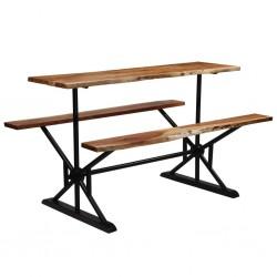 stradeXL Stół barowy z ławkami, lite drewno akacjowe, 180x50x107 cm
