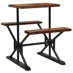 stradeXL Stolik barowy z ławkami, lite drewno z odzysku, 80x50x107 cm