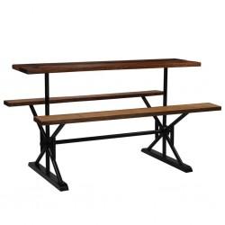 stradeXL Stół barowy z ławkami, z drewna z odzysku, 180x50x107 cm