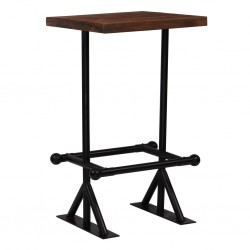 stradeXL Stolik barowy, lite drewno z odzysku, ciemny brąz, 60x60x107 cm
